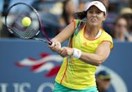 Laura Robson of Britain, pictured in action on September 2, became the first British woman since 1990 to reach a main tour singles final on Friday when she defeated Sorana Cirstea 6-4, 6-2 in the WTA Guangzhou Open