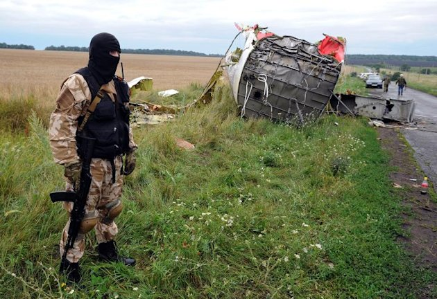 A pro-Russia militant stands guard at the crash site of the Malaysia Airlines flight MH17 in Grabove. - AFP pic