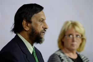 IPCC Chairman Pachauri comments on the U.N. IPCC Climate Report presentation during a news conference in Stockholm
