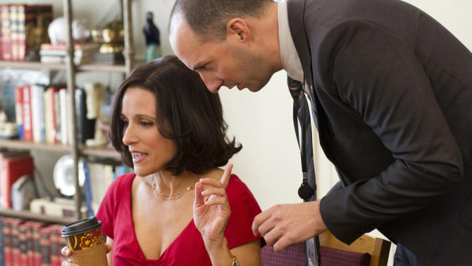 """Julia Louis-Dreyfus as Vice President Selina Meyer and Tony Hale as Gary Walsh in """"Veep."""""""