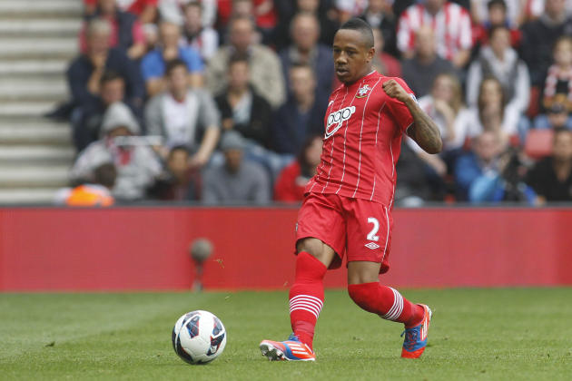 FILE - In this Sunday, Sept. 2, 2012 file photo, Southampton's Nathaniel Clyne plays against Manchester United during their English Premier League soccer match at St Mary's stadium, Southampto
