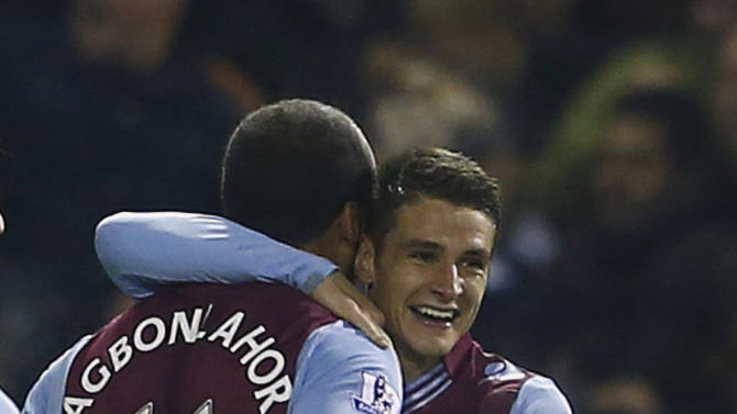 Aston Villa's Westwood celebrates his goal against West Bromwich Albion with teammate Agbonlahor during their English Premier League soccer match at The Hawthorns
