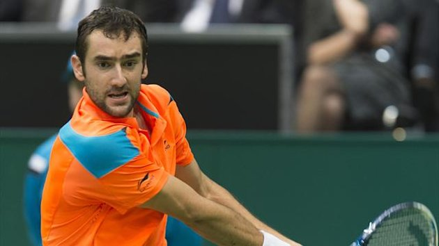 Marin Cilic of Croatia hits a backhand against Tomas Berdych of Czech Republic during their final match the ABN AMRO tennis tournament in Rotterdam February 16, 2014 (Reuters)