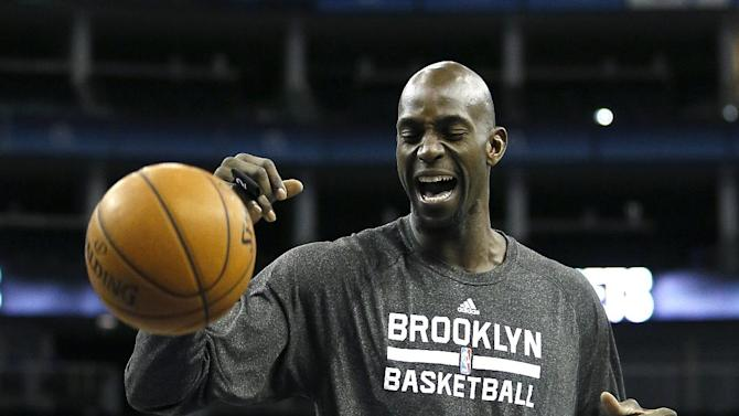 Brooklyn Nets player Kevin Garnett during a training session at the O2 Arena in London, Wednesday, Jan. 15, 2014. The Atlanta Hawks will play the Brooklyn Nets in an NBA match at the O2 Arena on Thursday