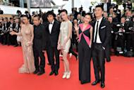 """The cast of the film """"Mystery"""" in competiton in the Un Certain Regard selection (from L) Chinese actress Hao Lei, Chinese director Lou Ye, Chinese actor Qin Hao, Chinese actress Qi Xi, Chinese actress Chang Fangyuan and Chinese actor Zhu Yawen arrive for the screening of """"De Rouille et D'Os"""" (Rust and Bone) presented in competition at the 65th Cannes film festival in Cannes"""