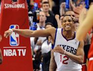 Evan Turner of the Philadelphia 76ers celebrates his team's 79-74 win over the Chicago Bulls in game three of the Eastern Conference first-round NBA playoff series on May 4
