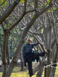 "An elderly man exercises in a park in Hong Kong. ""More leisure time physical activity was associated with longer life expectancy across a range of activity levels and BMI groups,"" a study has concluded"