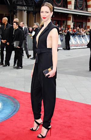 Rebecca Hall Flashes Major Sideboob at Iron Man 3 Premiere in London