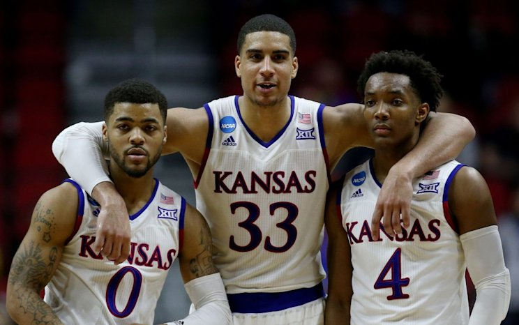 Projected Kansas starters Frank Mason, Landen Lucas and Devonte Graham (Getty Images)