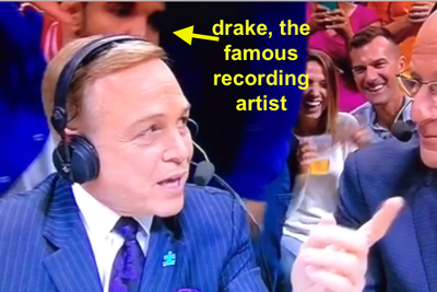 Drake videobombed the announcers on his way out of Warriors-Clippers