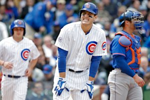 Anthony Rizzo reacts after being hit by a pitch against the Mets on May 14. (Getty Images)