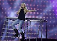 "Cascada of Germany performs her song ""Glorious"" during a rehearsal for the final of the Eurovision Song Contest at the Malmo Arena in Malmo, Sweden, Friday, May 17, 2013. The contest is run by European television broadcasters with the event being held in Sweden as they won the competition in 2012, the final will be held in Malmo on May 18. (AP Photo/Alastair Grant)"