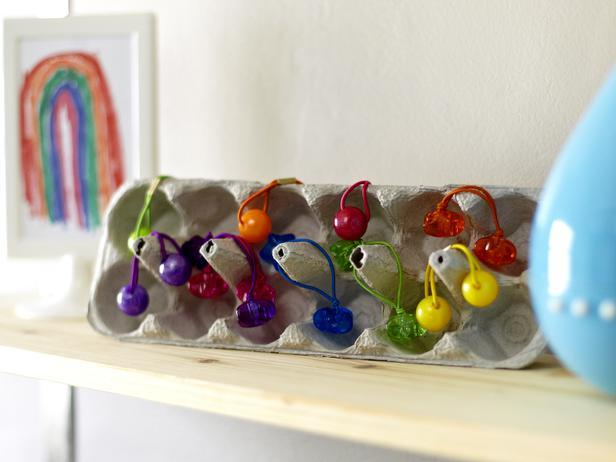 Stash Hair Ties in an Egg Carton