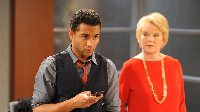 "This March 18, 2013 publicity photo released by The Online Network shows Corbin Bleu as Jeffrey King, left, and Erika Slezak as Victoria Lord, on the set of ""One Life To Live"" in Stamford, Conn.  Two soap operas ""All My Children,"" and ""One Life to Live,"" canceled by ABC, will unveil four daily half-hours per week, plus a recap/behind-the-scenes episode on Fridays, with 42 weeks of original programming promised for the first year, on the Hulu website.(AP Photo/The Online Network, David M. Russell)"