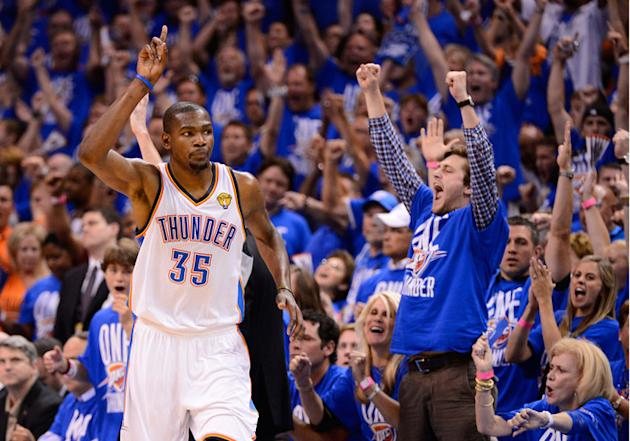 Kevin Durant #35 Of The Oklahoma City Thunder Reacts Getty Images