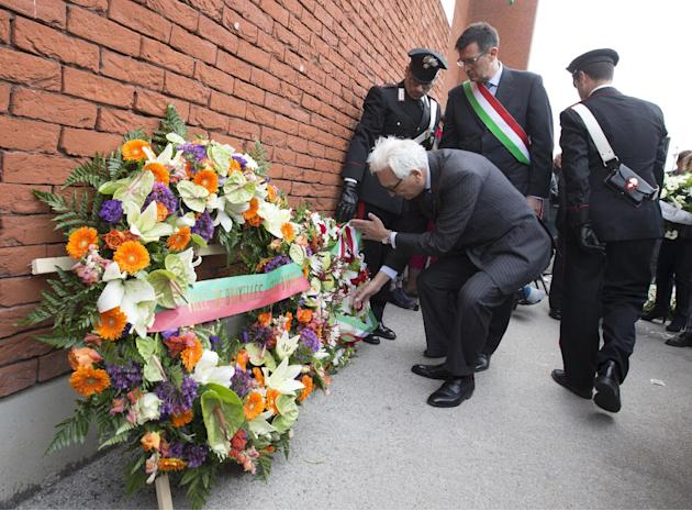 Italian ambassador to Belgium, Bastianelli places a wreath of flowers during a ceremony at the King Baudouin Stadium commemorating the 30th anniversary of the Heysel Stadium disaster in Brussels