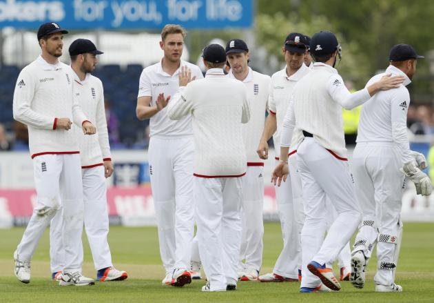England's Stuart Broad celebrates taking the wicket of Sri Lanka's Sutanga Lakmal