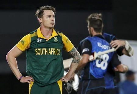 South Africa's bowler Dale Steyn reacts after New Zealand won their Cricket World Cup semi-final match in Auckland