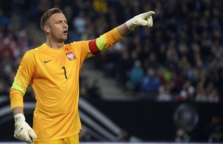 Poland's goalkeeper  Boruc reacts during their friendly soccer match against Germany in Hamburg,