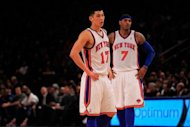 Jeremy Lin (L) and Carmelo Anthony during a game between the New York Knicks and the Cleveland Cavaliers in February. Anthony said Monday he hoped Lin would return to the Knicks