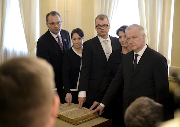 Finland's Defense Minister Niinisto, Minister of Social Affairs and Health Mantyla, Prime Minister Sipila, Minister of Transport and Communications Berner and Minister of Economic Affairs Rehn