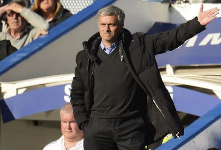 Chelsea's manager Mourinho directs his team during their English Premier League soccer match against Sunderland in London