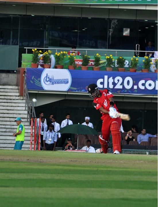 Trinidad & Tobago batsman in action during the Champions League T20, 2nd match, Group B between Brisbane Heat and Trinidad & Tobago at JSCA International Cricket Stadium, Ranchi on Sept. 22, 2013. (Ph