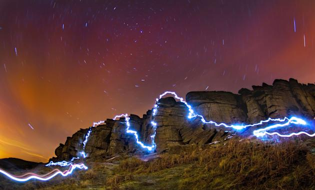 Light fantastic: Dan's clever long exposure pics mapped his route perfectly (Caters)