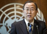This March 21, 2013 hanout image provided by the United Nations in New York, shows UN Secretary-general Ban Ki-moon making a press statement about the investigation into the alledged use of chemical weapons in Syria. The UN Security Council on Friday overcame differences on the Syria conflict to agree on a rare statement condemning a suicide bomb attack on a Damascus mosque