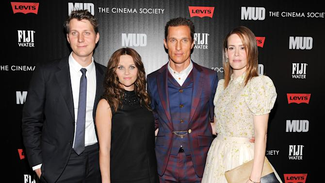 """Writer - director Jeff Nichols, left, poses with actors Reese Witherspoon, Matthew McConaughey and Sarah Paulson, right, at the premiere of """"Mud"""" hosted by The Cinema Societywith FIJI Water & Levi's at the Museum of Modern Art on Sunday April 21, 2013 in New York. (Photo by Evan Agostini/InvisionAP)"""
