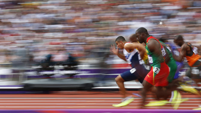 Britain's Adam Gemili leads during heat 5 of the round 1 men's 100m heats at the London 2012 Olympic Games at the Olympic Stadium