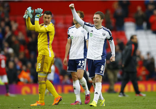 Football: West Bromwich Albion's Craig Gardner celebrates at the end of the game