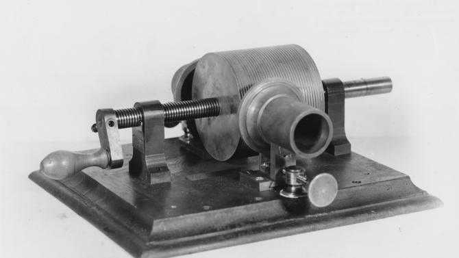 This photo provided by the Museum of Innovation and Science in Schenectady, N.Y., shows Thomas Edison's 1878 tinfoil phonograph. Researchers have digitized what experts say is the oldest recording of a playable American voice and history's first-ever recorded musical performance, along with the first recorded blooper. Recorded on a sheet of tinfoil on a phonograph invented by Thomas Edison, the recording was made in St. Louis in 1878. It contains a short coronet solo of an unidentified song, followed by the voices of a man reciting popular nursery rhymes. (AP Photo/Mike Groll)
