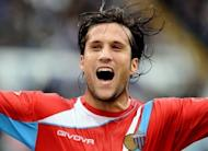 Argentinian defender Matias Silvestre (then of Catania) celebrates after scoring against Lazio during a Serie A match in Rome in November 2010. Silvestre on Friday signed for Serie A rivals Inter Milan in a deal worth an estimated 8 million euros