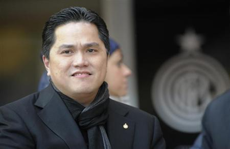 New Inter Milan's president Thohir, of Indonesia, looks on before the Italian Serie A soccer match against Sampdoria in Milan