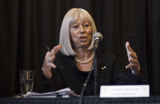 Constance Backhouse, a professor at the University of Ottawa who led an investigation into the Dalhousie Dentistry School scandal, sexism, homophobia and misogyny, appears at a news conference in Halifax on Monday, June 29, 2015. The task force says that the university should overhaul its culture and the way it handles complaints of sexism in the aftermath of misogynistic comments posted on Facebook by some male dentistry students. THE CANADIAN PRESS/John Morris