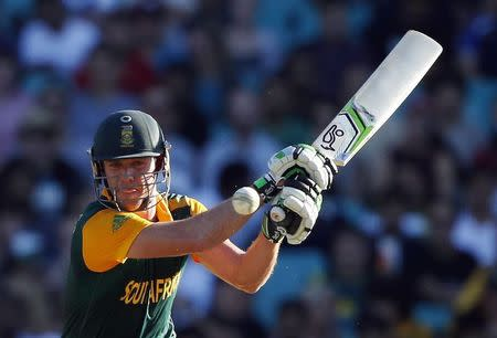 South Africa's AB de Villiers hits a shot during the Cricket World Cup match against the West Indies at the SCG