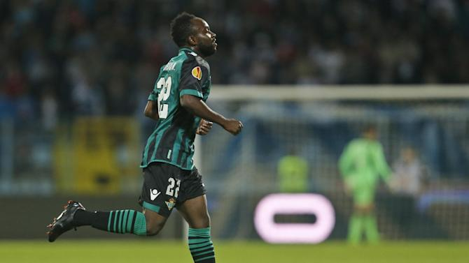 Betis' Cedric celebrates his goal against Rijeka during their group I Europa League first round second leg soccer match, at Kantrida stadium in Rijeka, Croatia, Thursday, Oct. 3, 2013
