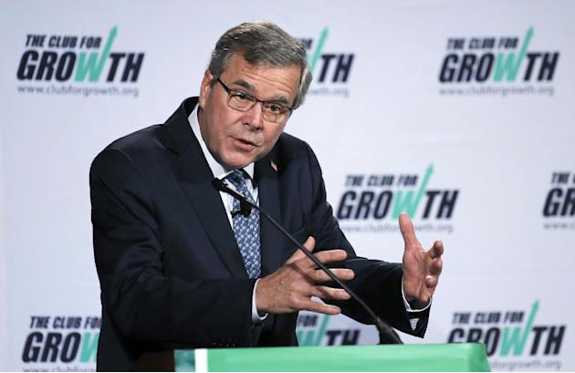 Former Florida Gov. Jeb Bush speaks at the winter meeting of the free market Club for Growth winter economic conference at the Breakers Hotel, Thursday, Feb. 26, 2015, in Palm Beach, Fla. (AP Photo/Jo