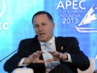 New Zealand Prime Minister John Key delivers an address at the Asia-Pacific Economic Cooperation Summit in Bali on October 6, 2013