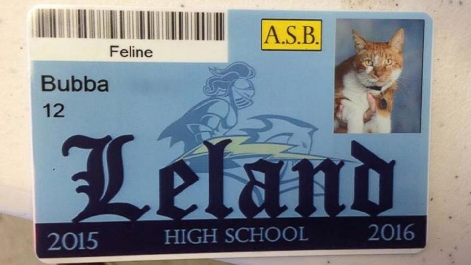 son was picking up his high school ID at Leland High School ...