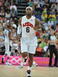 US forward LeBron James is pictured after winning 119-86 over Australia during their London 2012 Olympic Games men's quarterfinal basketball match on August 8