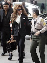 Michael Jackson's sister LaToya Jackson arrives for the sentencing of Conrad Murray, convicted of involuntary manslaughter in the death of pop star Michael Jackson, at the Los Angeles Criminal Justice Center Tuesday, Nov. 29, 2011. (AP Photo/Reed Saxon)