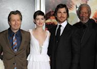 """(L-R) Actors Gary Oldman, Anne Hathaway, Christian Bale and Morgan Freeman attend """"The Dark Knight Rises"""" New York Premiere on July 16. Warner Brothers said it was """"deeply saddened"""" by Friday's massacre at a Colorado screening of its latest Batman movie, as it reportedly cancelled a red-carpet premiere in Paris"""