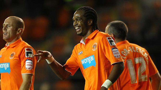 Blackpool's Nathan Delfouneso celebrates scoring against Middlesbrough