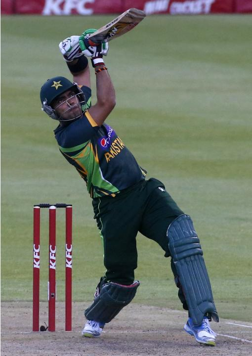 Pakistan's Umar Akmal plays a shot during the second Twenty20 cricket match against South Africa in Cape Town
