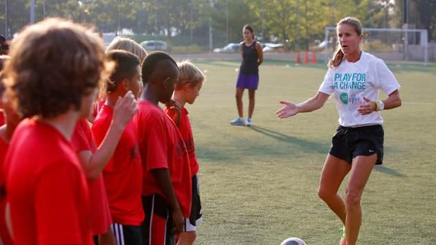 Brandi Chastain leads kids at Merck Consumer Care's Active Family Project's Play for a Change -- Merck Consumer Care's Active Family Project