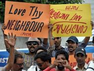 Activists of The Pakistan United Christian Movement protest over the case of Rimsha Masih, a Christian girl accused of blasphemy, during a rally in Rawalpindi in September 2012. Rights activists have urged Pakistan to repeal its blasphemy laws, arguing it is often used to settle personal disputes