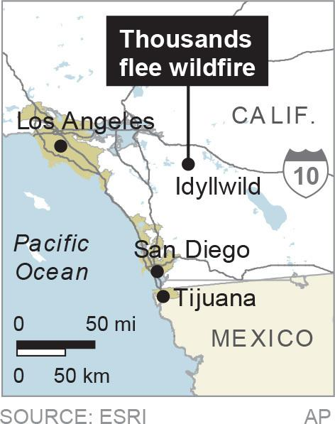 Map locates Idyllwild where 6,000 people were forced to flee wildfires; 1c x 2 inches; 46.5 mm x 50 mm;