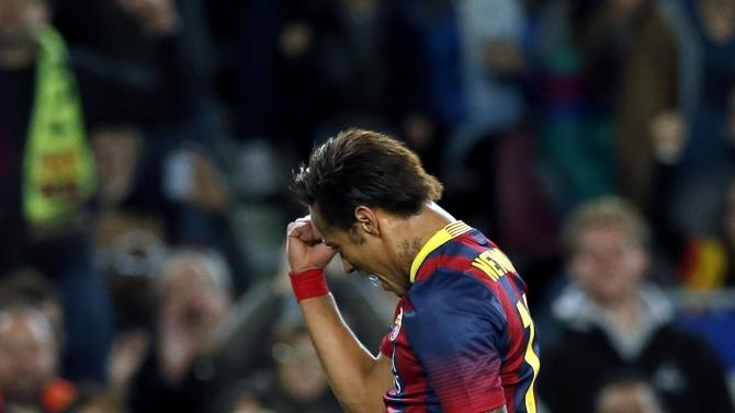 Barcelona's Neymar celebrates a goal against Rayo Vallecano during their Spanish first division soccer match at Camp Nou stadium in Barcelona